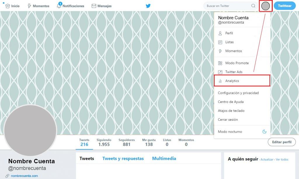 twitter analytics primer paso